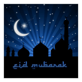 Eid Mosque Blue Night - Poster