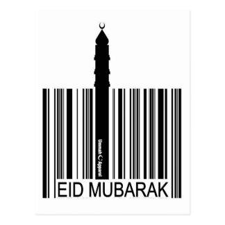 Eid Mubarak Barcode Postcard