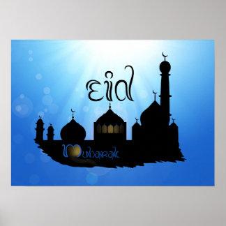 Eid Mubarak Mosque with Sunrays - Poster Print