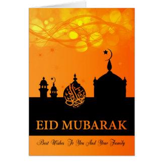 Eid Mubarak Orange Blends With Silhouette Mosque Card