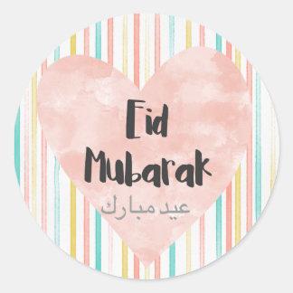 Eid Mubarak pastels Classic Round Sticker