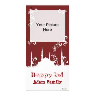 Eid White Burgundy Swirl Photo Cards