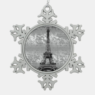 Eifel Tower - Paris- Snowflake-frosted effect Snowflake Pewter Christmas Ornament