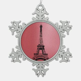 Eifel Tower - Paris- Snowflake Snowflake Pewter Christmas Ornament