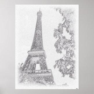Eiffel BW Sketch Poster