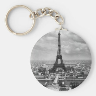 Eiffel tour basic round button key ring