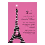 Eiffel Tower 21st Birthday Invitation (fuchsia)