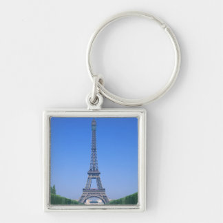 Eiffel Tower 3 Silver-Colored Square Key Ring