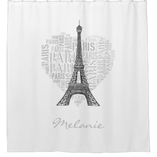Eiffel Tower and Inscriptions Paris in Heart Shower Curtain