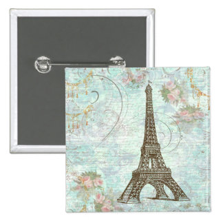 Eiffel Tower and Pink Roses 15 Cm Square Badge