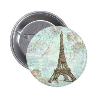 Eiffel Tower and Pink Roses 6 Cm Round Badge