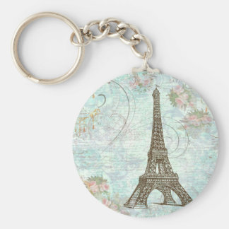 Eiffel Tower and Pink Roses Basic Round Button Key Ring