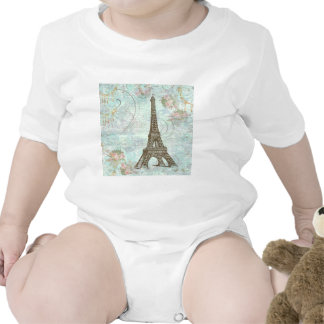 Eiffel Tower and Pink Roses Bodysuits