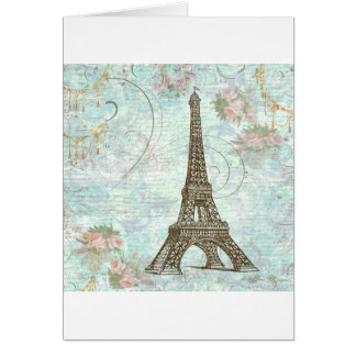 Eiffel Tower and Pink Roses Greeting Card