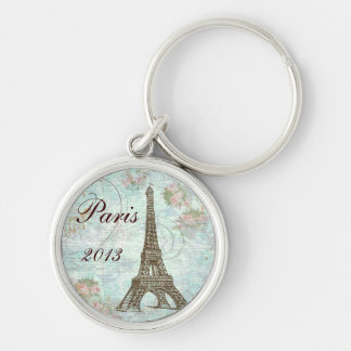 Eiffel Tower and Pink Roses Silver-Colored Round Key Ring