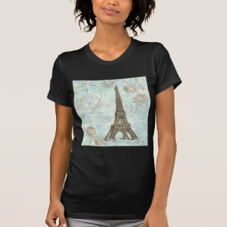 Eiffel Tower and Pink Roses T-Shirt