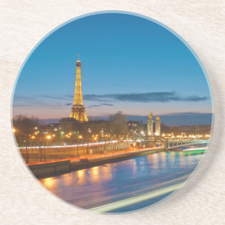 Eiffel Tower and Pont Alexandre III at Night Beverage Coaster