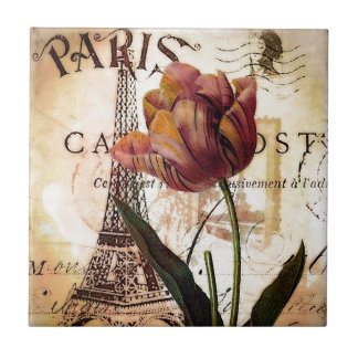 Eiffel Tower and tulip Ceramic Tile