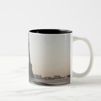 Eiffel Tower at dusk, Paris, Ile-de-France, Two-Tone Coffee Mug