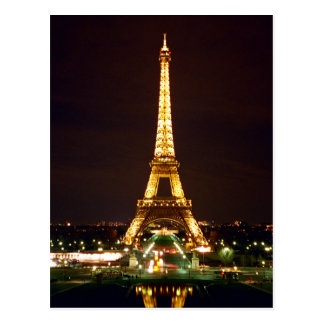 Eiffel Tower at Night - Color Post Cards