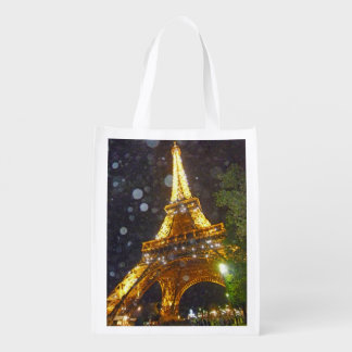 Eiffel Tower at Night, in the Rain! Reusable Grocery Bag