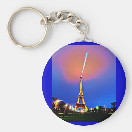 Eiffel Tower At Night Painting Keychain