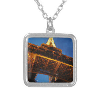 Eiffel Tower at Night Silver Plated Necklace