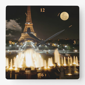 Eiffel Tower at Night Square Wall Clock