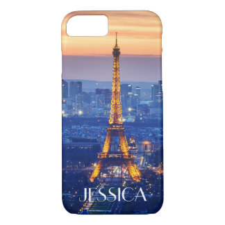 Eiffel Tower at Night with Name iPhone 7 Case