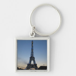 Eiffel Tower at sundown Silver-Colored Square Key Ring
