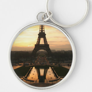 Eiffel Tower at Sunrise from the Trocadero Silver-Colored Round Key Ring