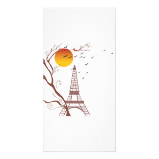 Eiffel tower, autumn customized photo card