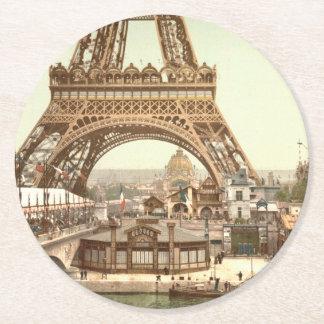 Eiffel Tower Base, Paris, France Round Paper Coaster