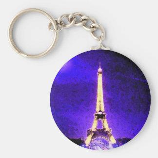Eiffel Tower Basic Round Button Key Ring