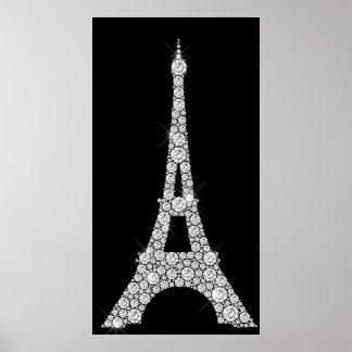 Eiffel Tower Black White Swarovski Crystals Paris Poster