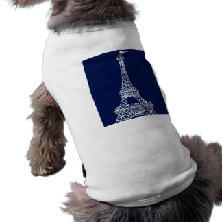 Eiffel Tower Blue and White Template Sleeveless Dog Shirt