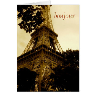 Eiffel Tower, bonjour! travel, blank inside Card