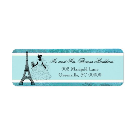 Eiffel Tower Bride Personalised Address Labels