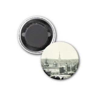 Eiffel Tower Bridge Seine Paris France Iconic View 3 Cm Round Magnet