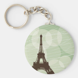 Eiffel Tower bubbles - green Basic Round Button Key Ring