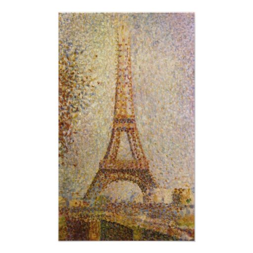 Eiffel Tower by Georges Seurat, Vintage Fine Art Poster