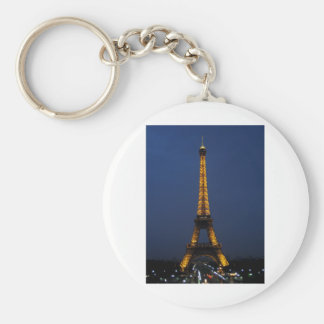 Eiffel tower by night basic round button key ring