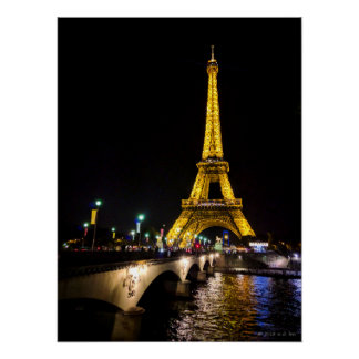 Eiffel Tower by Night over in Paris, France Poster
