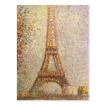 Eiffel Tower by Seurat, Vintage Pointillism Art Post Cards