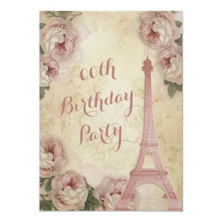 Eiffel Tower Cabbage Roses Any Age Birthday Party Card