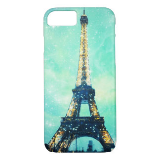 Eiffel Tower Case, Mint Green and Teal Blue. iPhone 7 Case