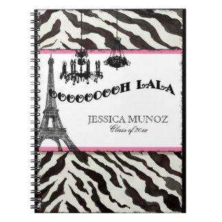 Eiffel Tower Chandelier Zebra Personalized Journal