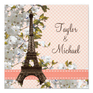 Eiffel Tower Cherry Blossom Wedding Invitations