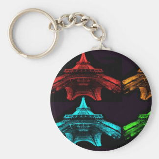 Eiffel Tower Collage Basic Round Button Key Ring