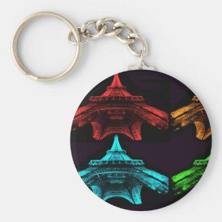 Eiffel Tower Collage Basic Round Button Key Ring